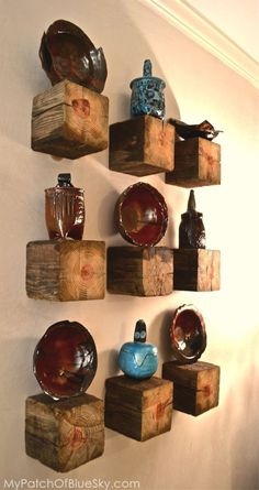 North Carolina pottery on rustic wood displays.