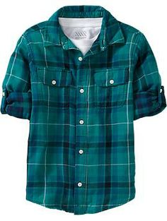 Boys Double Weave Plaid Shirts