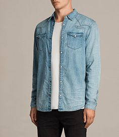 Men's Doomer Denim Shirt (LIGHT INDIGO BLUE) - product_image_alt_text_3