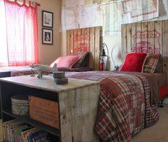 Boy's Bedroom: love the rustic wood headboards