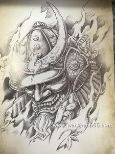 Japanese Mask Tattoo, Japanese Tattoo Designs, Japanese Sleeve Tattoos, Hannya Maske Tattoo, Hannya Tattoo, Samurai Warrior Tattoo, Warrior Tattoos, Samurai Drawing, Samurai Art