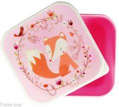 BOITE-motif-RENARD-en-PLASTIQUE-alimentaire-ROSE-PASTEL-Lunch-Box-BOITE-a-GOUTER