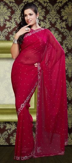 $84  76379, Party Wear Sarees, Traditional Sarees, Faux Georgette, Cut Dana, Kundan, Pink and Majenta Color Family
