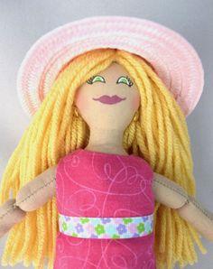 Blonde Doll in Pink Hat  Toy Doll or Art Doll by JoellesDolls