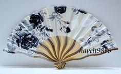 Hand made Silk Japanese Hand Fan Folding Fan Rose Black Kimono Yukata accessory Sensu on Etsy, $4.99