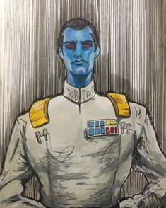 """Peat Vazquez on Instagram: """"Grand Admiral Thrawn commission. 6x9 ink and marker. A Drawing like this comes FREE with every sketch cover you get from me! You can also…"""""""