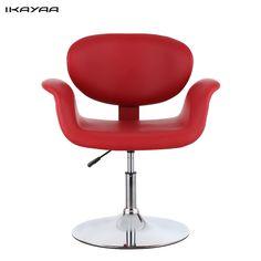 iKayaa  Modern Ergonomic Adjustable PU Leather Salon Barber Chair Stool Padded Pneumatic Haidresser Chair