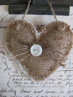 Hanging burlap hearts.  No instructions, just inspiration.