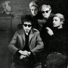 edie, andy warhol, another guy, and bob dylan