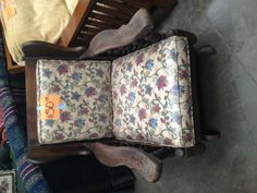 A rocking chair at the ReStore with a nice vintage, floral print!