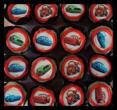 "Decorated chocolate ""Cars"" cupcakes"