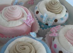 cupcakes made from washcloths, sock, tshirts, etc. cute idea for baby shower