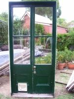 Renovate Restore Recycle French Doors - Pair of French Doors with Cat Flap Insert.