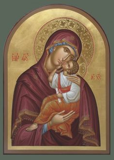 Sweet Kissing Icon of the Theotokos / Embossing used in conjunction w red border on halo. Religious Pictures, Religious Icons, Religious Art, Byzantine Icons, Byzantine Art, Christian Artwork, Religious Paintings, Blessed Mother Mary, Madonna And Child