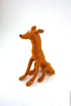 Купить игрушка Левретка рыжая (собака, щенок,пес,новогодняя) - коричневый, игрушка собака
