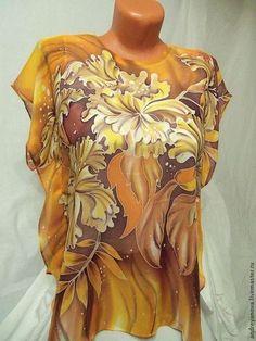 """Блуза-серопе-батик""""Мир орхидей"""" - цветочный,оранжевый,яркий,рыжий,коричневый"""