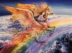 Flight of Aquarius    Soaring high above the clouds, a girl rides the Pegasus Unicorn, her hair flowing in the breeze created by the gentle beating of his wings. Together they follow the rainbow of hope as it leads them into a future of peace and love for all.