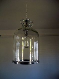 Demi-john hanging light with chrome rim. a Reclaimed Lighting from Antiques by Design. Porch Lighting, Cool Lighting, Lighting Design, Kitchen Lighting, Lighting Ideas, Demijohn Ideas, Whisky, Light Crafts, Hanging Lights