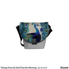 Vintage Peacock Swirl Fine Art Messenger Bag. Regalos, Gifts. #bolso #bag #DiaDeLasMadres #MothersDay