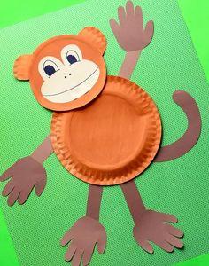 Paper Plate Art, Paper Plate Animals, Paper Plate Crafts For Kids, Paper Plates, Safari Animal Crafts, Elephant Crafts, Animal Crafts For Kids, Dinosaur Crafts, Monkey Crafts