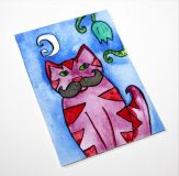 """Listing from my original ACEO painting called """"Cat with mustache"""". This aceo was inspired by illustration Friday theme """"mustache"""". I had an idea to paint a handsome cat with some big moustache. Size: x inches (app. x cm) Perfect add to yo Mustache Cat, Big Moustache, Purple Art, Pink Art, Trading Card Sleeves, Original Artwork, Original Paintings, Artist Card, Watercolor And Ink"""