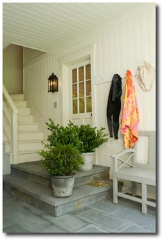paneling. Love the look of this for carriage house, mom's guest house. Place to remove shoes, etc