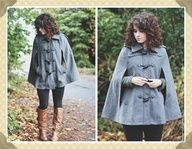 Elizabeth, of Delightfully Tacky, knows how to stay warm and fashionable with a gray cape>>> brown boots with a gray coat, love it!