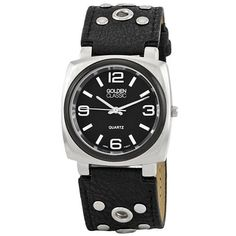 """Golden Classic Women's 2267_black """"Off the Cuff"""" Vintage Leather Studded Band Watch Golden Classic. $23.40. Water-resistant to 99 feet (30 M). Black vintage leather band with adjustable silver buckle. Black dial with contrasting silver hour and minute markers; Silver minute and second hand. Black coin edge bezel. Highest standard Quartz movement"""