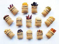 Spice Fridge Magnet, Seeds Magnet, Corn Magnet, Seed Fridge Magnet, Spice Sack Magnet, Spices, Food Magnet, Fridge Magnet, Magnet, Corn Seed by Punyee on Etsy