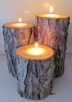 log candle holder - Google Search