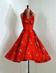 Party dress, 1950's. Asian print novelty silk brocade, high-collar shelf-bust halter bodice.