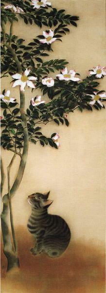 'Cat in Sasanqua' (Christmas Camellia); artwork by Hayami Gyoshu Asian Cat, Animal Gato, Japanese Cat, Japanese Culture, Art Chinois, Illustration Art, Illustrations, Art Asiatique, Japanese Painting