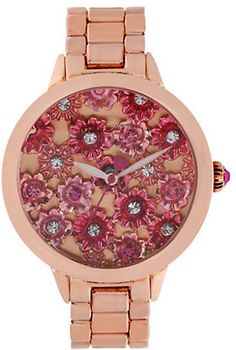 Betsey Johnson Ladies Rose Goldtone Watch with Flower Motif Dial