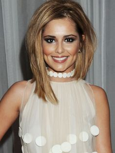 Cheryl Cole's asymmetrical bob. I love the cut and color!