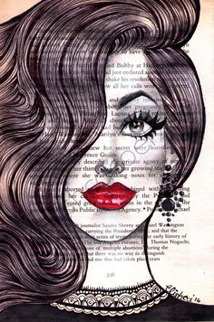An original drawing of a woman's glamorous made up face wearing chandelier earings with black lace collar drawn on vintage book paper (appro...