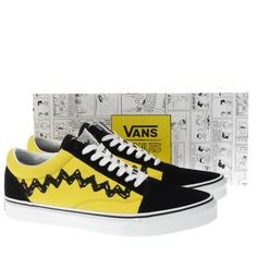 mens vans yellow old skool peanuts charlie trainers