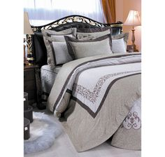 The St. Pierre Home Montpellier 210 Thread Count Egyptian Cotton Duvet Cover Set - Queen-Taupe/Beige Montpellier, The Shopping Channel, Home Shopping Network, Egyptian Cotton Duvet Cover, Taupe, Beige, The St, Queen, Duvet Cover Sets