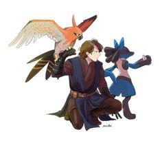 Star Wars x Pokemon Crossover Pokemon Tumblr, Pokemon Comics, Pokemon Fan Art, Cute Pokemon, Pokemon Stuff, Star Wars Clone Wars, Star Wars Art, Star Wars Luke Skywalker, Anakin Skywalker