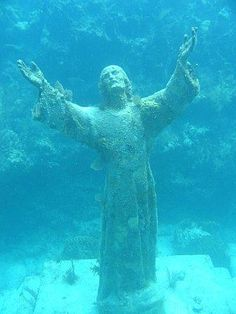 Christ of the Abyss, at the bottom of the Mediterranean Sea off of San Fruttuoso, Italy. Erected in 1954, it depicts Christ offering a benediction of peace, with his head and hands raised skyward. What a stunning thing to see!
