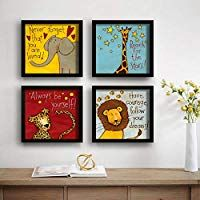 Saf Animals Designer Set Of 4 Uv Textured Painting 19 X 19 Inches Saf Set4 8 Texture Painting Painting Frames Painting