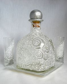 Glass Decanter Hand Painted Serving Set by skyspirit8studios, $125.00