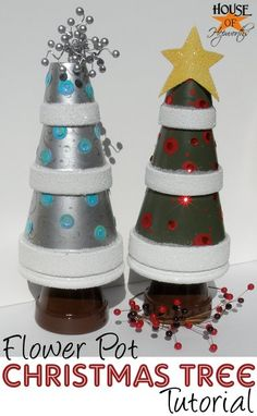Make christmas trees from flower pots. Easy to follow tutorial. houseofhepworths.com #christmas #crafts #holiday #flowerpot #terracotta