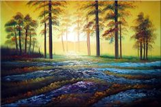 Alpine Trees with Sunshine Landscape,Tree Impressionism Oil Painting  24 x 36 inches