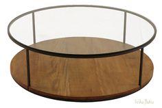 mesa de centro redonda em ferro e tampo vidro rj