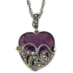 Marcasite & Glass Heart Pendant found on Polyvore
