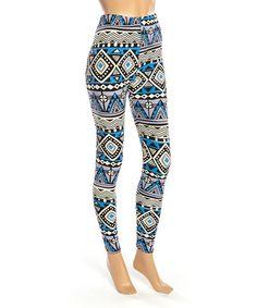 Look at this #zulilyfind! Blue & White Geometric Leggings - Women #zulilyfinds