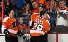 PHILADELPHIA, PA - MARCH 10: Danny Briere #48, Sean Couturier #14, and Claude Giroux #28 of the Philadelphia Flyers joke around during warmups prior to their game against the Buffalo Sabres on March 10, 2013 at the Wells Fargo Center in Philadelphia, Pennsylvania. (Photo by Len Redkoles/NHLI via Getty Images)