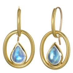 Susan Sadler Pear-Shaped Blue Moonstone Interlink Gold Hook Earrings. One-of-a-Kind Interlink Earrings handcrafted in 18.5k yellow gold with 3.50 carats of cabochon-cut pear-shaped blue moonstone and 18.5k yellow gold hook backs.  c 2015