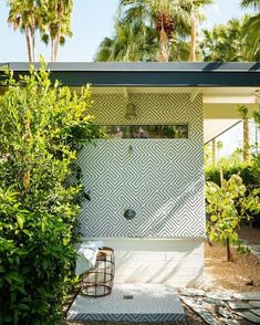 "THE DESIGNORY on Instagram: ""An outdoor shower by @studioardarchitects in LA gets a layer of playful Palm Springs personality with patterned encaustic tiles.⠀⠀⠀⠀⠀⠀⠀⠀⠀…"""