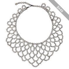 Kenneth Jay Lane Crystal Lace Bib Necklace